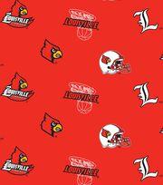 "University of Louisville Cardinals Fleece Fabric 58""-Allover, , hi-res"