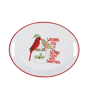 3R Studios Christmas Enameled Tray with Handles