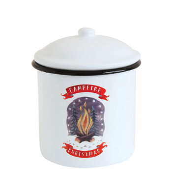 3R Studios Christmas Enameled Canister with Lid-Campfire Christmas
