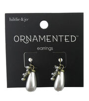 hildie & jo™ Ornamented Antique Gold Earrings-Pearl Teardrop, , hi-res