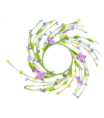 Blooming Spring Berry & Flower Mini Wreath-Purple