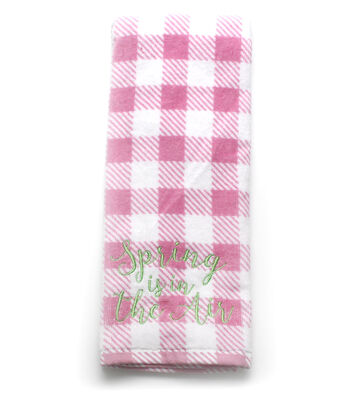 Wild Blooms Gingham Velour Terry Towel-Pink Spring is in the Air