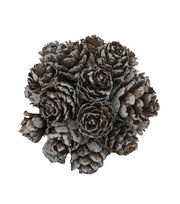 Blooming Holiday Christmas 3'' Tipped Pinecone Ball-White, , hi-res