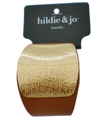 hildie & jo™ Bracelet with Gold Textured Cuff-Light Brown