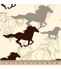 Blizzard Fleece Fabric 59\u0022-Horses Running Sketch Cream