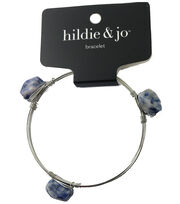 hildie & jo Silver Bangle Bracelet-Blue & White Stones, , hi-res