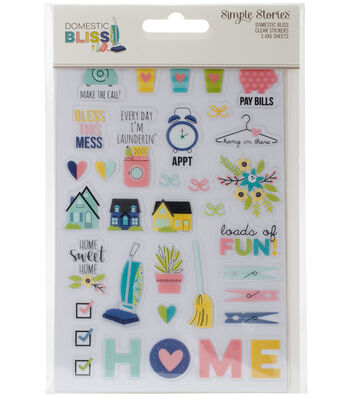 "Domestic Bliss Clear Stickers 4""X6""-(1) Color & (2) Black"