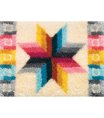 """Latch Hook Kit 27""""X20""""-Quilted Star"""