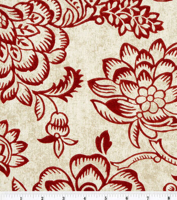 "Home Essentials Print Fabric 45""-Bircham/Red"