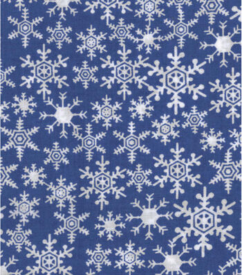 """Holiday Cotton Fabric 43""""-Snowflakes Blue"""