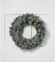 Blooming Holiday Christmas 24'' PVC Flocked Canadian Pine Wreath, , hi-res