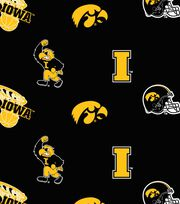 "University of Iowa Hawkeyes Fleece Fabric 58""-All Over, , hi-res"
