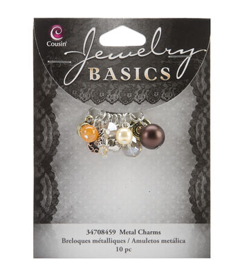 Jewelry Basics Metal Charms-Brown Glass/Metal Bead Cluster 10/Pkg