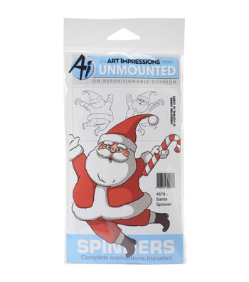 Art Impressions Spinners Unmounted Cling Rubber Stamp-Santa