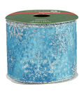 Christmas Ribbon 2.5in x 12 ft Wire Edge - Snowflake Lt Blue
