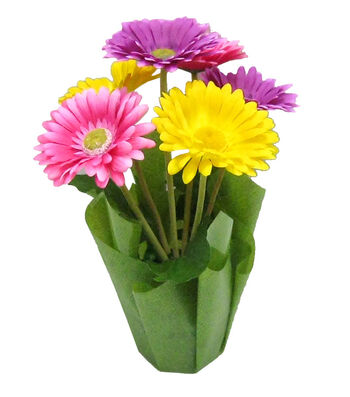 Blooming Spring 16'' Potted Gerbera & Daisy-Yellow, Purple & Pink