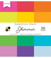 DCWV Pack of 36 6''x6'' Printed Cardstock Stack-Shimmer, , hi-res