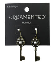 hildie & jo™ Ornamented 1.25''x0.25'' Key Antique Gold Earrings, , hi-res