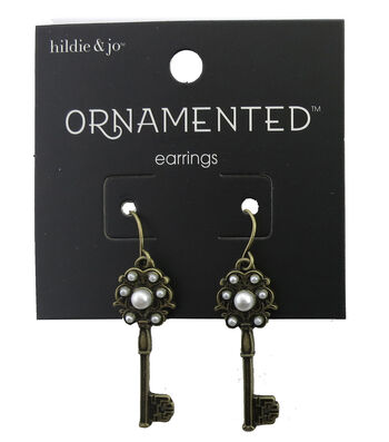 hildie & jo™ Ornamented 1.25''x0.25'' Key Antique Gold Earrings