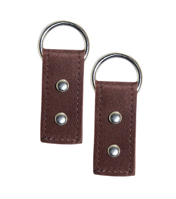 BRN MF RECT Shaped Purse Tabs with Silver Rings