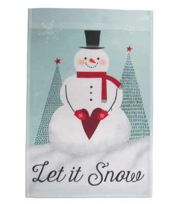Maker's Holiday Christmas 12''x18'' Flag-Snowman & Let It Snow