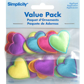 Assorted Hearts Iron On Applique Pack, 15 pcs