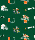 University of Miami Hurricanes Cotton Fabric 44\u0022-Allover