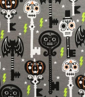 "Doodles Halloween Interlock Cotton Fabric 57""-Skeleton Key"