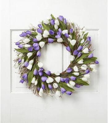 Fresh Picked Spring 22'' Crocus & Twig Wreath-White & Lavender