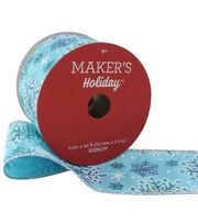 Maker's Holiday Christmas Ribbon 2.5''X25'-Blue Frozen Snowflakes, , hi-res