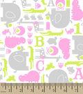 Snuggle Printed Flannel Fabric 42\u0027\u0027-Pink, Green & Gray Baby Animals