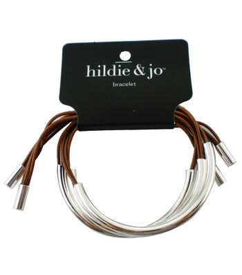 hildie & jo™ Tan Braided Bracelet-Silver Half Circle