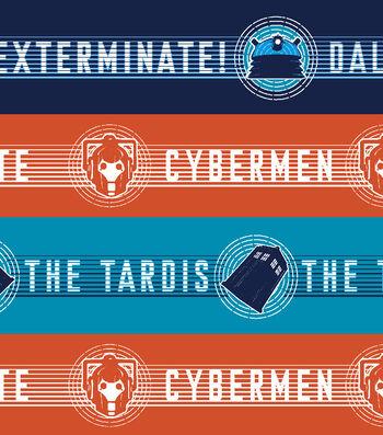 Doctor Who Flannel Fabric 42''-Tardis & Dalek Cyberman Stripe