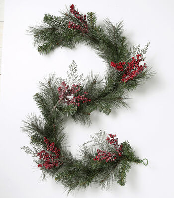 Blooming Holiday Christmas 66'' Pine & Sugared Berry Garland-Green & Red