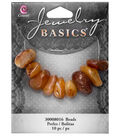 Cousin® Jewelry Basics 10 Pack Polished Stone Beads-Brown & Orange