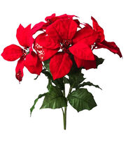 Blooming Holiday Christmas 20'' Poinsettia Spray-Red, , hi-res