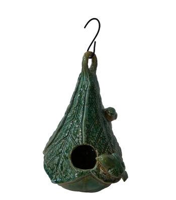 Wild Blooms Ceramic Leaf Birdhouse