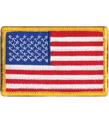 """Wrights Iron-On Appliques-American Flag 2""""X3"""" 1/Pkg"""