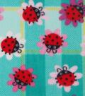 Anti-Pill Fleece Fabric 59\u0022-Lady Bugs On Flowers Plaid