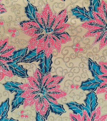 "Sew Sweet Decorating Glitter Satin Fabric 58""-Poinsettia Gold"