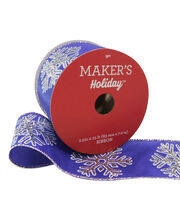 Maker's Holiday Christmas Ribbon 2.5''x25'-White Snowflake on Deep Blue, , hi-res