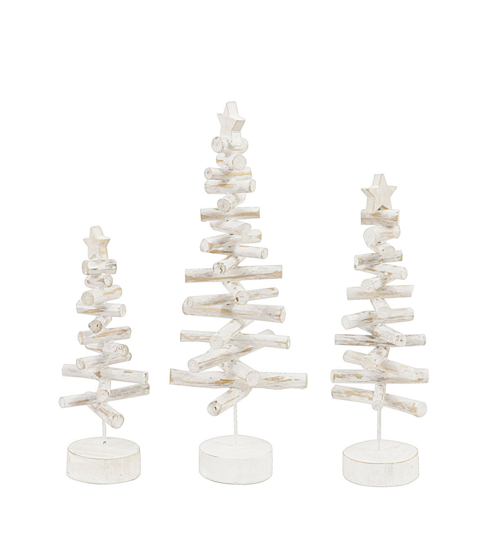 3R Studios Christmas 3 Pk Wood Stick Trees Distressed White