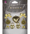 Jewelry Basics Metal Charms-Gold Mixed 9/Pkg