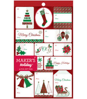 Maker's Holiday Christmas 52 pk Foil Gift Tags-Red, White & Green, , hi-res