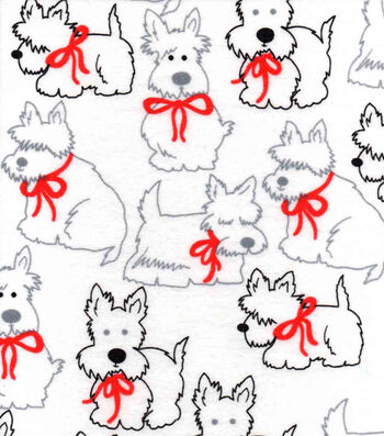 """3 Yard Pre-Cut Snuggle Flannel Fabric 42""""-Scotties With Red Bow"""