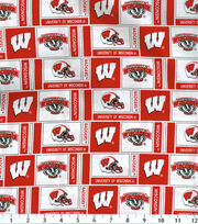 "University of Wisconsin Badgers Cotton Fabric 43""-Herringbone, , hi-res"