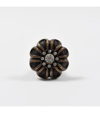 Dritz Home Cast Iron Rhinestone Flower Knob-Bronze