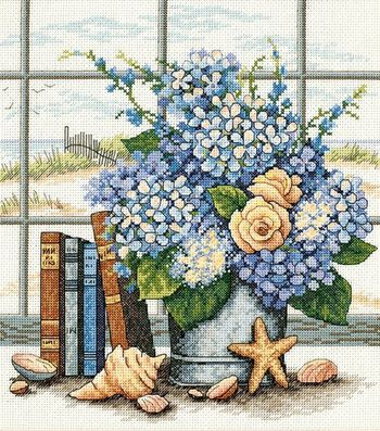 Dimensions Hydrangeas & Shells Counted X-Stitch Kit