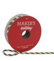 Maker's Holiday Christmas Cord Ribbon 1/6''x9'-Red, Green & White, , hi-res