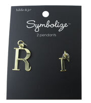 hildie & jo™ 2 Pack Letter 'R' Upper & Lower Case Gold Pendants, , hi-res